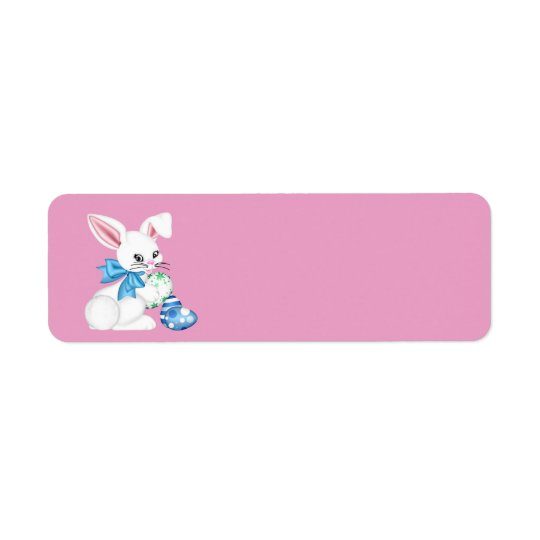 Happy Easter Bunny and Coloured Egg Return Address Label