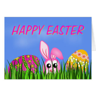 Happy Easter Bunny and Eggs in Grass Greeting Card