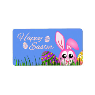 Happy Easter Bunny and Eggs in Grass Medium Labels