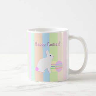 Happy Easter Bunny and Eggs on Stripes Coffee Mug