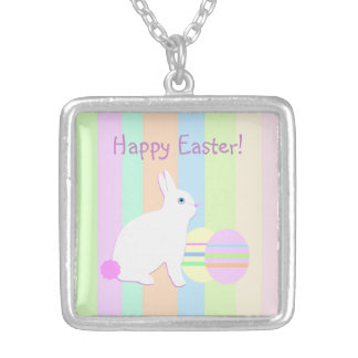Happy Easter Bunny and Eggs on Stripes Square Pendant Necklace