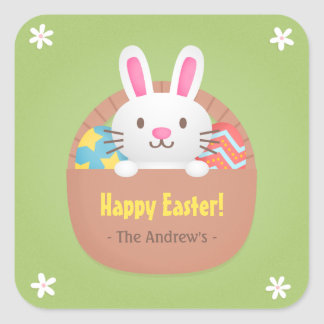 Happy Easter Bunny and Eggs Party Decor Stickers