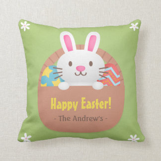 Happy Easter Bunny and Eggs Room Decor Pillow