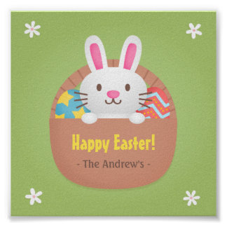 Happy Easter Bunny and Eggs Wall Decor Poster