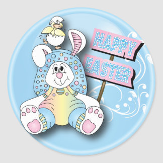 Happy Easter Bunny and Friend Classic Round Sticker