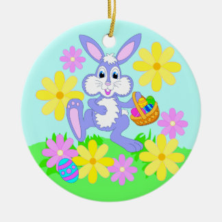Happy Easter Bunny Cute Rabbit Flowers Ornament