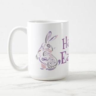 Happy Easter Bunny & Eggs - 1 Basic White Mug