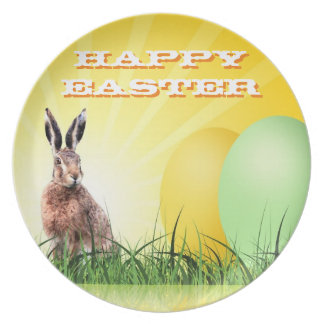HAPPY EASTER - Bunny & Eggs Plate