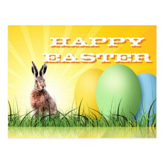 HAPPY EASTER - Bunny & Eggs Postcard