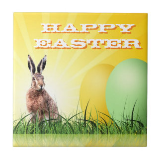 HAPPY EASTER - Bunny & Eggs Small Square Tile