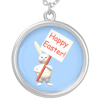 Happy Easter Bunny Greets Custom Necklace