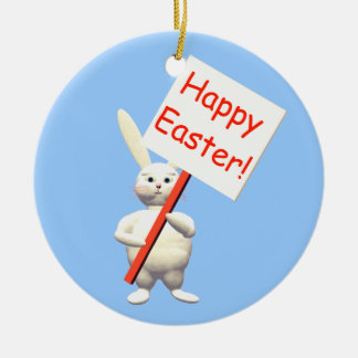 Happy Easter Bunny Greets Round Ceramic Decoration