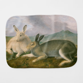 Happy Easter Bunny Hare Couple Watercolor Vintage Burp Cloth