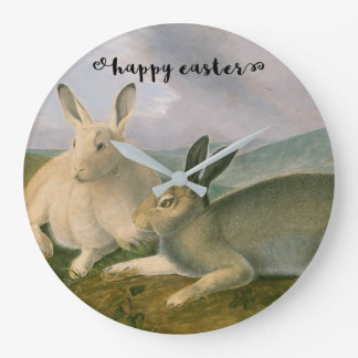 Happy Easter Bunny Hare Couple Watercolor Vintage Large Clock