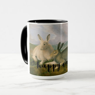 Happy Easter Bunny Hare Couple Watercolor Vintage Mug