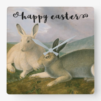 Happy Easter Bunny Hare Couple Watercolor Vintage Square Wall Clock