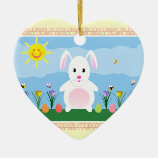 Happy Easter Bunny Heart Ceramic Ornament
