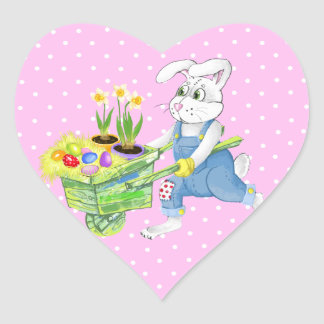 Happy Easter bunny Heart Sticker