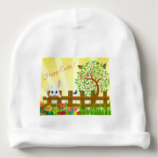 Happy Easter bunny illustration Baby Beanie
