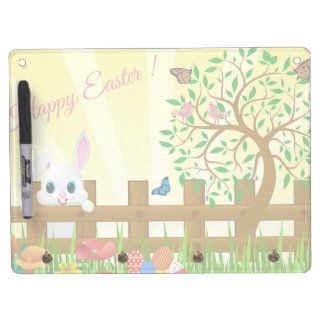 Happy Easter bunny illustration Dry Erase Board With Key Ring Holder