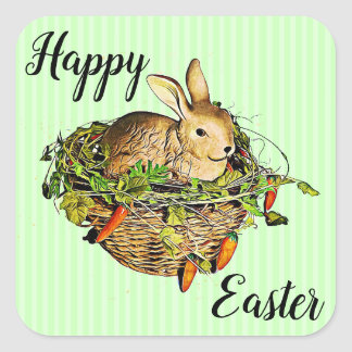 Happy Easter Bunny in Basket Stickers
