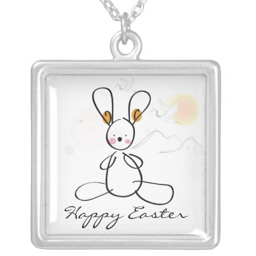 Happy Easter Bunny Personalized Necklace
