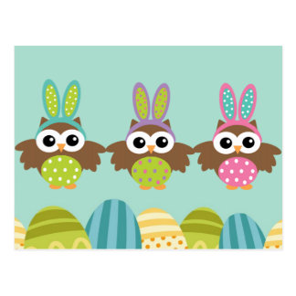 Happy Easter Bunny Owls Postcard