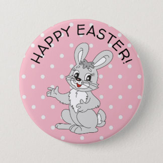 Happy Easter Bunny Pink Polka Dot Button