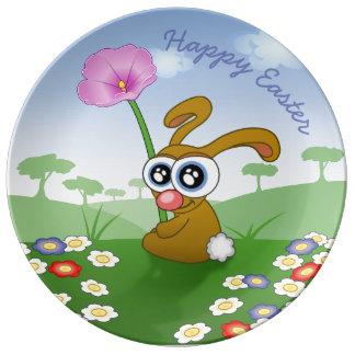 HAPPY EASTER BUNNY PORCELAIN PLATE, FLOWER BUNNY PORCELAIN PLATES