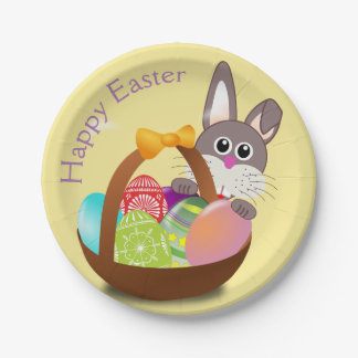 Happy Easter Bunny Rabbit Basket Egg Dessert Plate