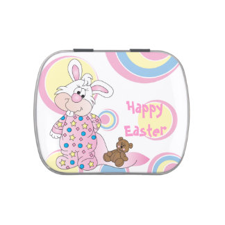 Happy Easter Bunny Rabbit Jelly Belly Candy Tin