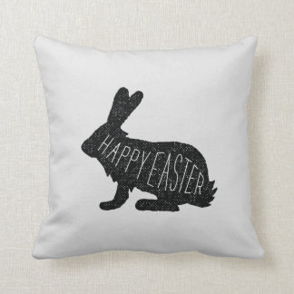 Happy Easter Bunny Rabbit Monochrome Throw Pillow