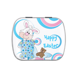 Happy Easter Bunny Rabbit Candy Tins