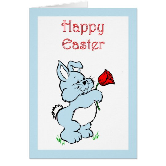 HAPPY EASTER BUNNY RABBITS BLUE CARD