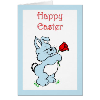 HAPPY EASTER BUNNY RABBITS BLUE GREETING CARD