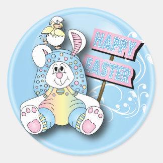 Happy Easter Bunny Round Sticker