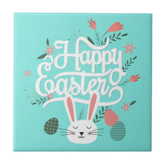 Happy Easter Bunny Small Square Tile