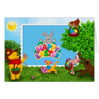 Happy Easter bunny with bear Greeting Card