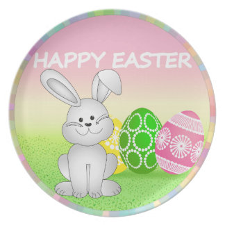 HAPPY EASTER BUNNY WITH EASTER EGGS. EASTER  GIFT DINNER PLATES