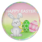 HAPPY EASTER BUNNY WITH EASTER EGGS. EASTER  GIFT PLATE