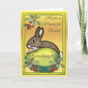 Granddaughter easter gifts on zazzle au happy easter bunny with egg for granddaughter christmas card negle Images