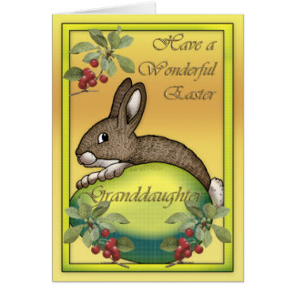Happy Easter bunny with egg, for Granddaughter Greeting Card