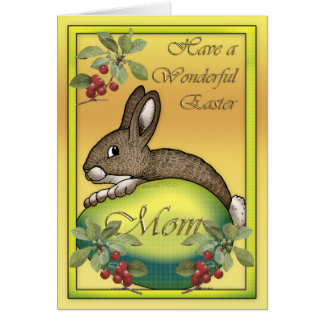 Happy Easter bunny with egg, for Mom Greeting Card