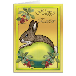 Happy Easter bunny with egg Greeting Card