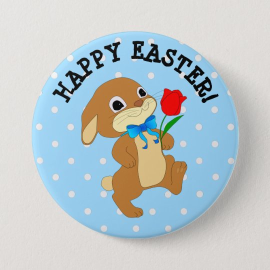 Happy Easter Bunny with Rose Button