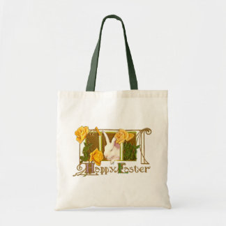 Happy Easter Bunny with Yellow Roses Budget Tote Bag