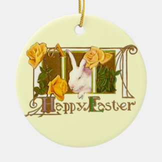 Happy Easter Bunny with Yellow Roses Round Ceramic Decoration