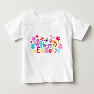 Happy Easter-butterflies-pink bunny and floral Baby T-Shirt