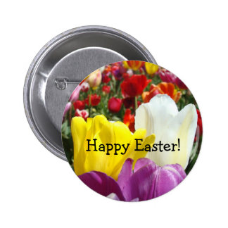 Happy Easter buttons Colorful Tulip Flowers
