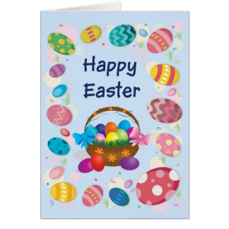 Happy Easter Card - Basket with Easter eggs